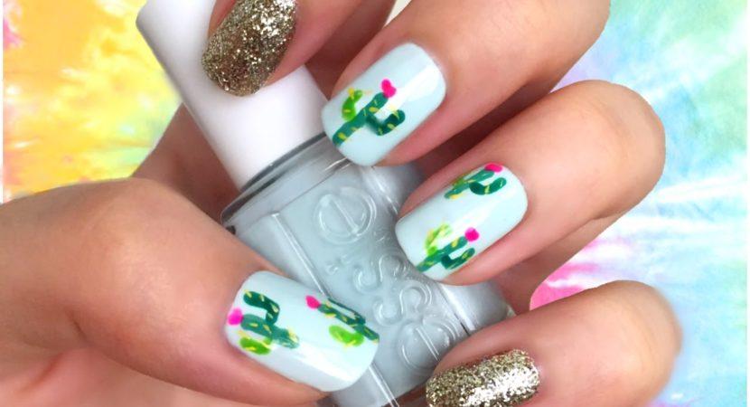 Cactus Print Nail Art TUMBLR Nails Coachella Festival Ideas